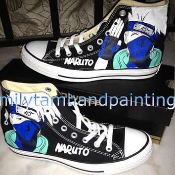 Naruto Anime Kakashi Inspired Hand Painted Converse Shoes, Custom Converse All Star Sneakers Paint on Naruto Kakashi