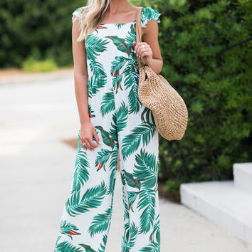Trip To The Tropics Jumpsuit, Off White