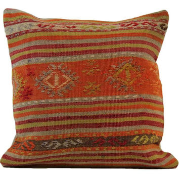 Alise Red/Orange Striped Pattern Kilim Pillow Cover
