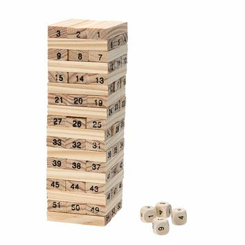 New Wooden Tower Wood Building Blocks Toy Domino 54 +4pcs Stacker Extract Building Game Kids Educational Birthday Gift