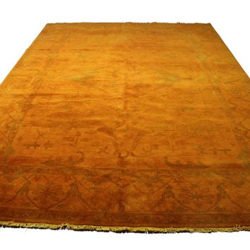9x12 Orange Overdyed 100% Wool Pile Area Rug 2928