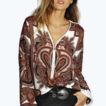 Floral Print Zipper-Up Long-Sleeve Shirt