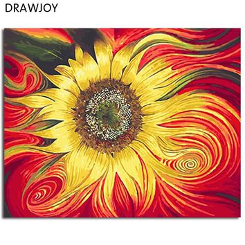 DRAWJOY Framed Oil Paint DIY Painting By Numbers Coloring By Numbers Sun Flower Home Decoration Wall Art For Living Room