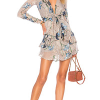 For Love & Lemons Cleo Floral Party Dress in Silver Orchid