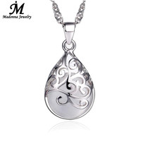 New Fashion Silver Plated Pendant Pink And White Moonstone Stone Opal Pendant Hollow Design Love Trevi Fountain Women Jewelry
