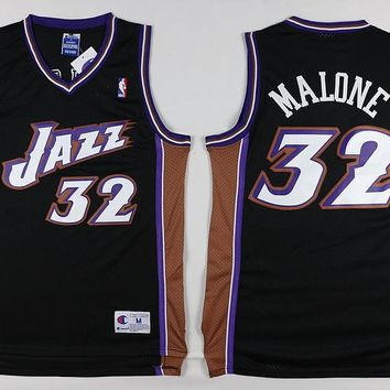 Utah Jazz #32 Karl Malone Black Retro Swingman Jersey