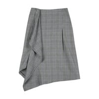 Prince of Wales Check Drape Accent Skirt