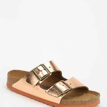 Birkenstock Arizona Metallic Leather Slide Sandal- Copper