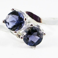 Two Stone Iolite Sterling Silver Ring