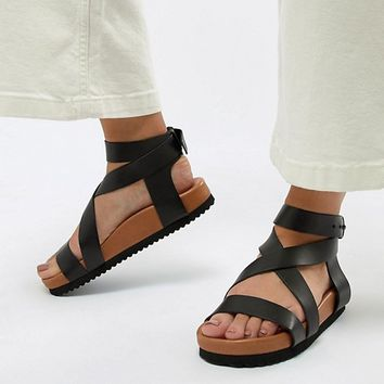 Selected Leather Chunky Flat Sandal at asos.com