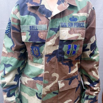 Jacket, Vintage US Air Force Jacket, Camo, Size Adult Small, Coat, USA, US Military, Bell
