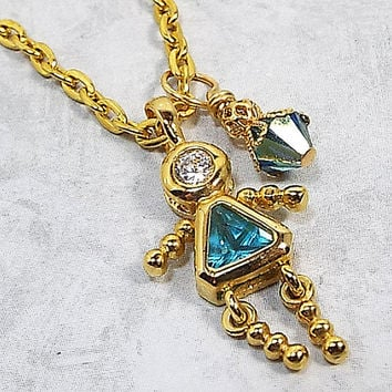 Blue Rhinestone Girl Pendant Necklace Gold Plated 23 Inch Chain Made with Swarovski Bicone,  Vintage Charm, Lobster Claw Clasp Womens Gift
