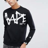 AAPE By A Bathing Ape Sweatshirt With Large Script Logo in Black at asos.com