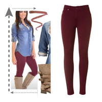 Fall For Me Jeggings WINE