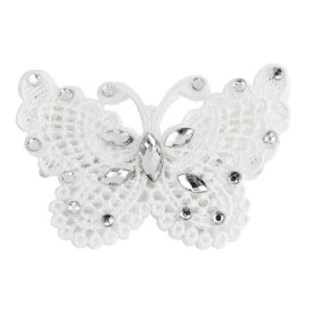 Wedding Handmade Bride Rhinestone Butterfly Hair Clip White Hair Accessory