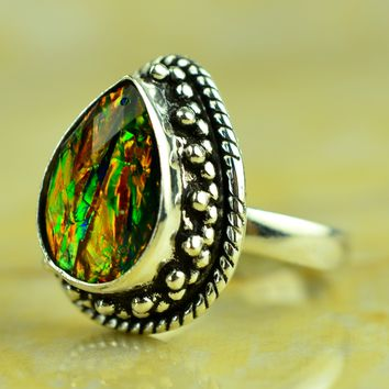 Fire Opal Triplet Designer 925 Silver Ring Size US#6.00 to US#10.00 Boho Jewelry