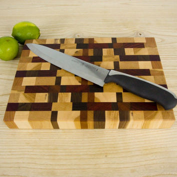 Random Pattern End Grain Cutting Board/ Butcher Block Exotic and Domestic Hardwoods
