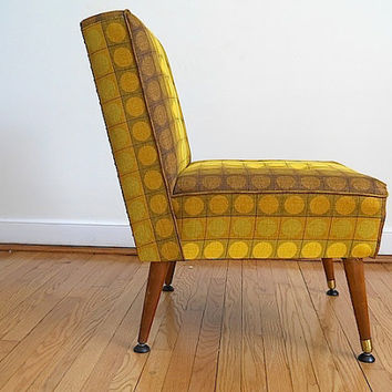 Yellow Brown Geometric Mid Century Modern Designer Chair, Custom Home Decor First House Gift For Wife Husband, Armless Modern 1950's Chair
