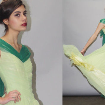 1950s Green Full Length Cupcake Bombshell Pinup Prom Wedding Dress  - Vintage Green Wedding Dress - 50s Wedding Dress - Prom Dress  - WD0802