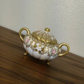 Antique RC Noritake Nippon Chocolate set sugar pot, gold gilt sugar, sugar for tea, pink rose sugar set, chipped lid