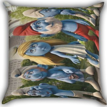 Smurf Zippered Pillows  Covers 16x16, 18x18, 20x20 Inches