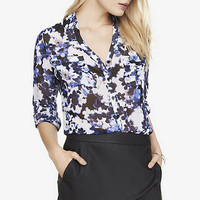 BLUE FLORAL CONVERTIBLE SLEEVE PORTOFINO SHIRT from EXPRESS