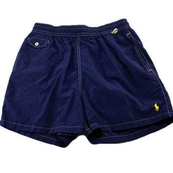 Vintage 90s Polo by Ralph Lauren Navy Blue Swim Trunks Mens Swim