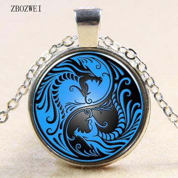 new blue dragon and phoenix yin and yang Tai Chi glass pendant necklace for men and women clothing accessories pendant necklace