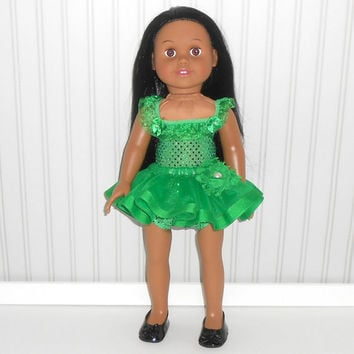 18 inch Doll Clothes Emerald Green Dance Outfit with Sequin Leotard and Ribbon Tutu American Doll Clothes