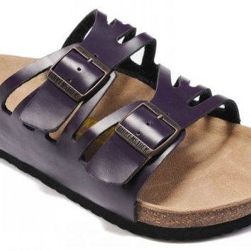 Birkenstock Granada Sandals Leather Deep Purple - Ready Stock