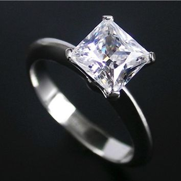 2Ct Genuine White Gold Princess Cut Dependable Synthetic Diamonds Women Engagement Ring Style Excellent Design Ring