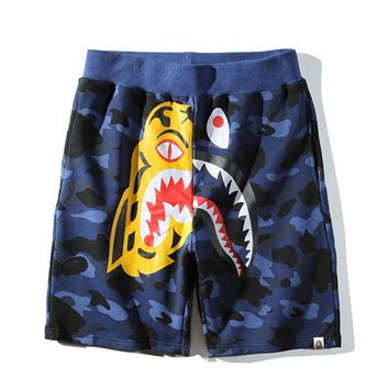 Bape Aape Summer Fashion New Tiger Shark Print Camouflage Women Men Shorts Blue