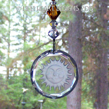 Crystal Clear Etched Blue Moon and Stars Moonman Suncatcher with Swarovski Strand in Sapphire Blue and Clear Lilli Heart Designs