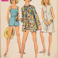 SALE 1960s Misses Swimsuit and A-Line Dress or Jacket Simplicity 7697 Womens Vintage Sewing Pattern Bust 37""