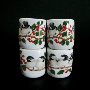 "Vintage Rauschert Bavarian Village Porcelain ""Funny Design"" Chickadee Candle Holders, West Germany, Set of 4"