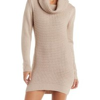 Chunky Knit Cowl Neck Sweater Dress by Charlotte Russe