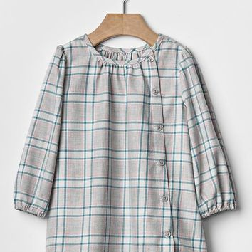 Gap Plaid Button Front Dress