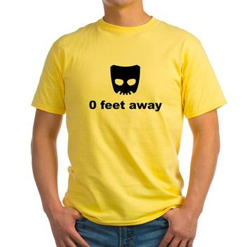 Grinder Gay Cruising Zero Feet Away Yellow T-Shirt