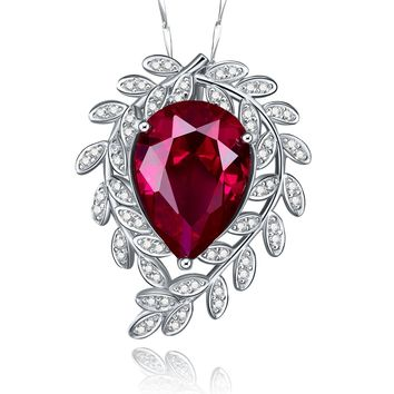 Merthus 925 Sterling Silver 8ct Teardrop Red Ruby Vine Leaf Pendant Necklace Jewelry for Women,18""