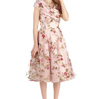 ModCloth Vintage Inspired Long Cap Sleeves Fit & Flare Belle at the Reception Dress
