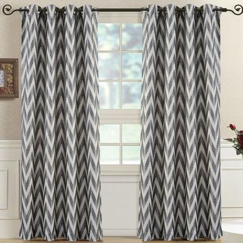 Charcoal Pair (Two Panels ) Lisette Chevron Top Grommet Window Curtain Panels
