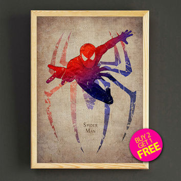 Spider-Man Watercolor Art Print Avengers Comic Superhero Poster House Wear Wall Art Decor Gift Linen Print - Buy 2 Get FREE - 159s2g