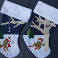 Coordinating Set of Two Christmas Stockings--Winter Fun with Foxes