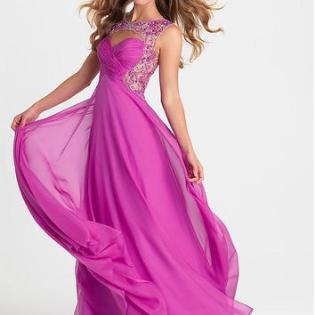 [129.99] Alluring Chiffon Jewel Neckline Floor-length A-line Evening Dress With Beadings - dressilyme.com