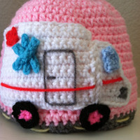 Baby Toddler Child Adult Crochet Beanie Hat With Ambulance Applique New Made to Order