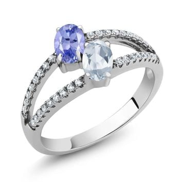 1.36 Ct Oval Blue Tanzanite Sky Blue Topaz Two Stone 925 Sterling Silver Ring