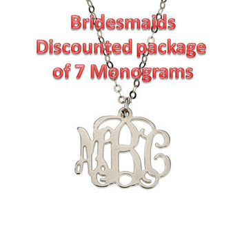 Bridesmaids Package of 7 Discounted Small Silver Monogram Necklace 20% off
