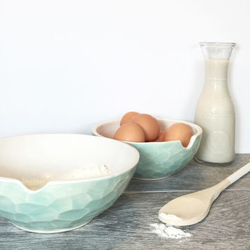 Faceted Bowls Mixing Serving Porcelain Nesting Pick your Color and sizes