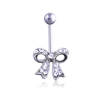 New Charming Dangle Crystal Navel Belly Ring Bling Barbell Button Ring Piercing Body Jewelry = 4804898628