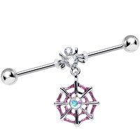 Clear Gem Spider and Aurora Pink Web Dangle Industrial Barbell | Body Candy Body Jewelry